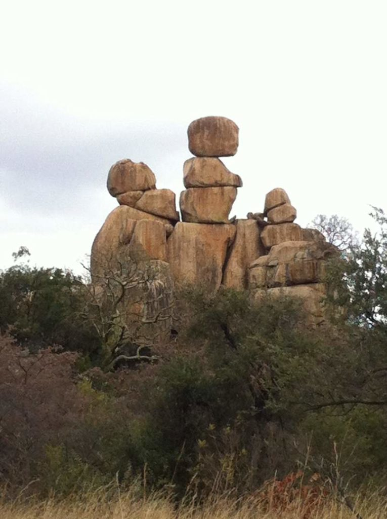 Mother and Child rock formation in Matopo hills. A wilderness of granite rock.